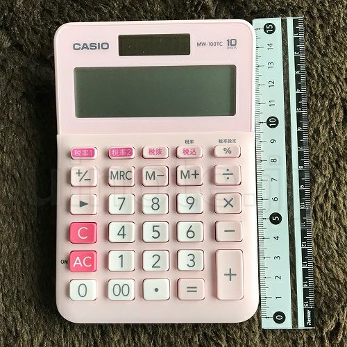 電卓のサイズの参考(縦)