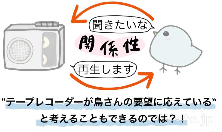 テープを自分のタイミングで聞くことを開始できれば、テープレコーダーだけでも鳥の歌を学習できる