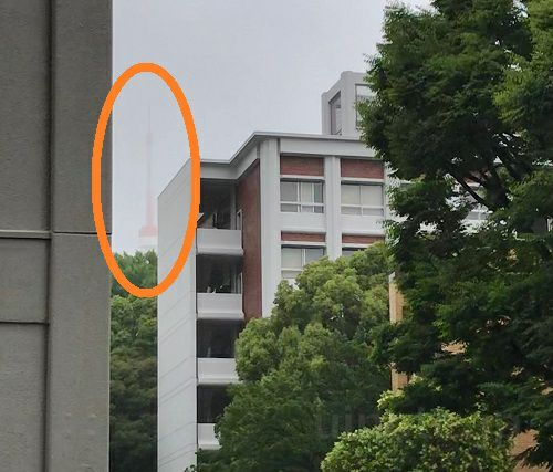 三田キャンパスからちらっと見える東京タワー